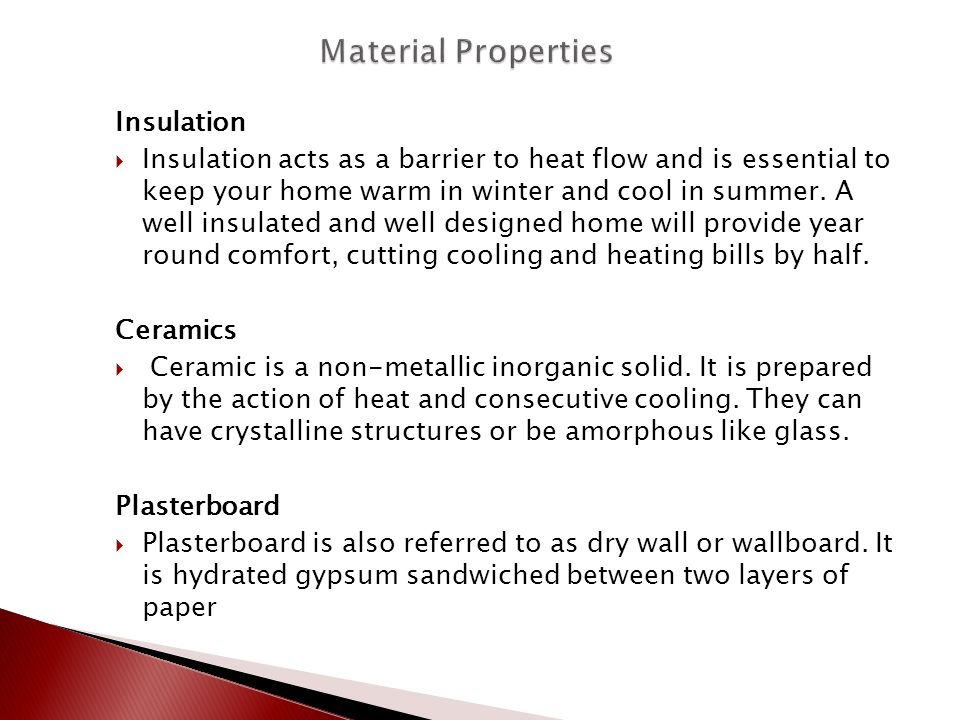 Material Properties Insulation