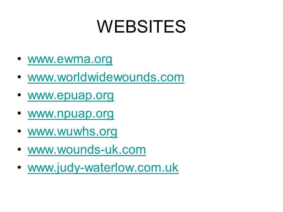 WEBSITES www.ewma.org www.worldwidewounds.com www.epuap.org