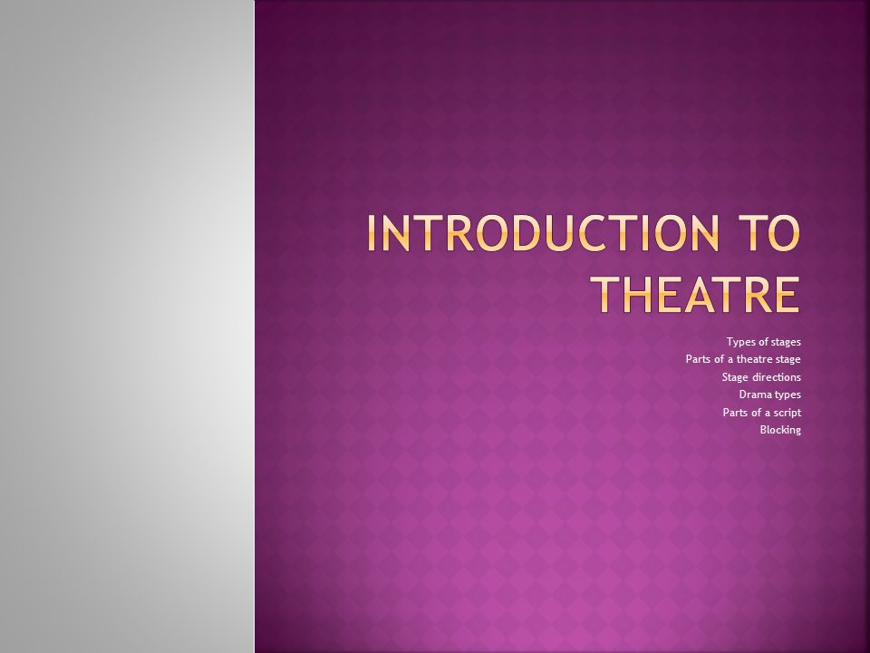 Introduction to theatre