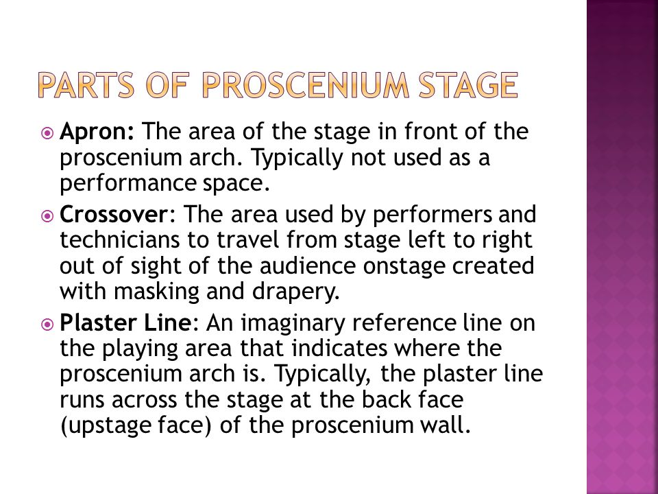 Parts of proscenium stage