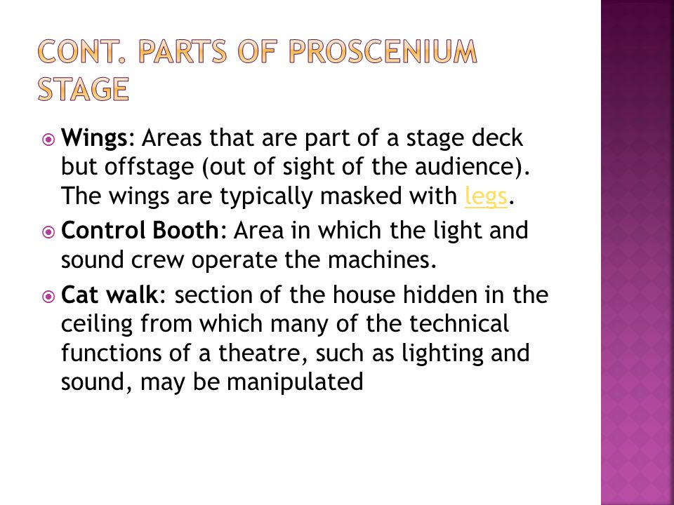 Cont. parts of proscenium stage