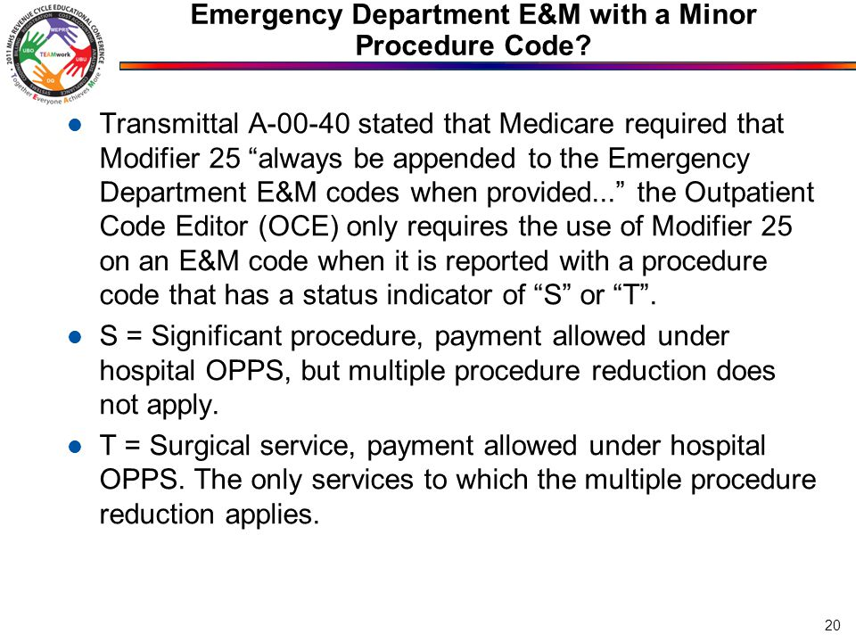 Emergency Department E&M with a Minor Procedure Code
