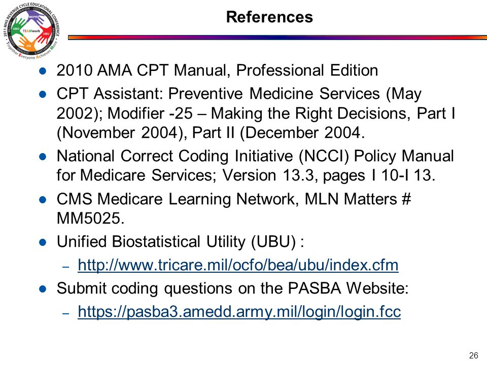 References 2010 AMA CPT Manual, Professional Edition.