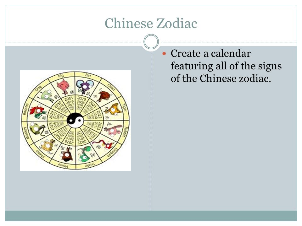 Chinese Zodiac Create a calendar featuring all of the signs of the Chinese zodiac.
