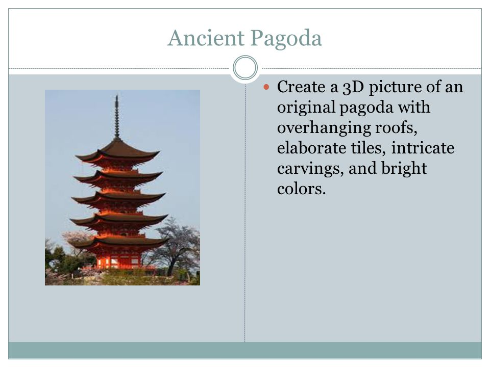 Ancient Pagoda Create a 3D picture of an original pagoda with overhanging roofs, elaborate tiles, intricate carvings, and bright colors.