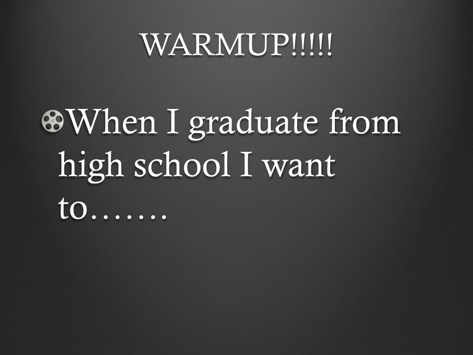 When I graduate from high school I want to…….