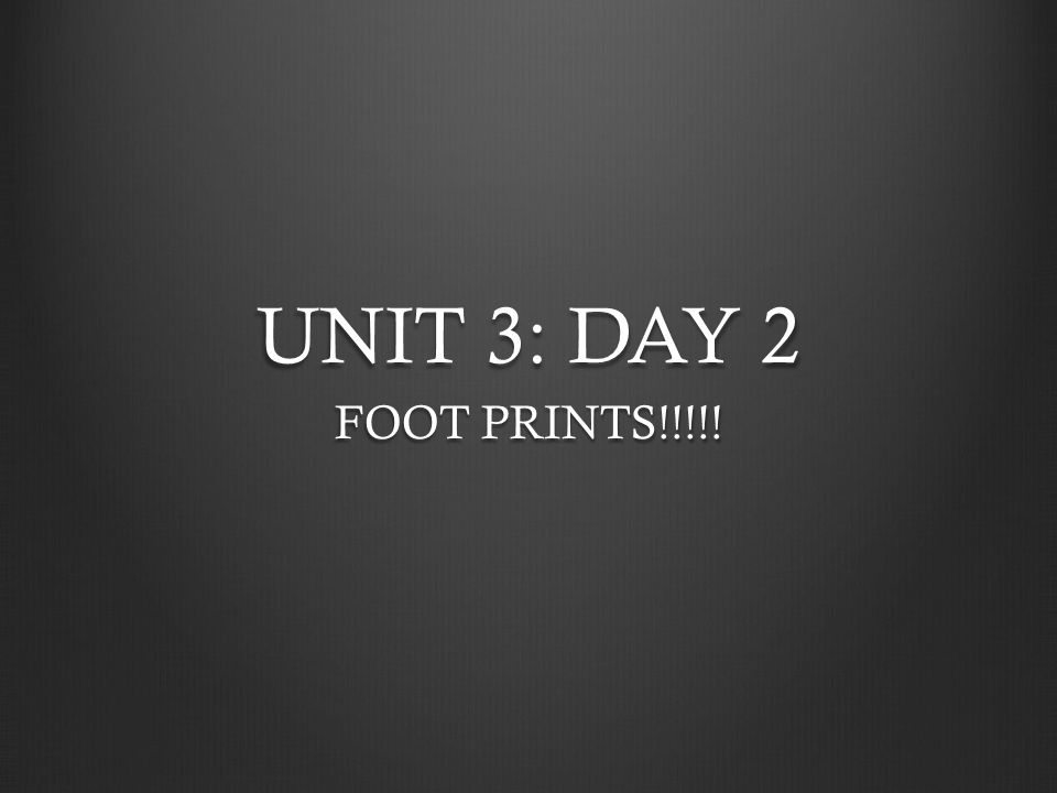 UNIT 3: DAY 2 FOOT PRINTS!!!!!