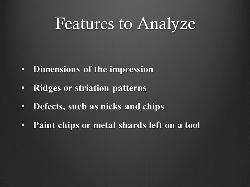 Features to Analyze Dimensions of the impression