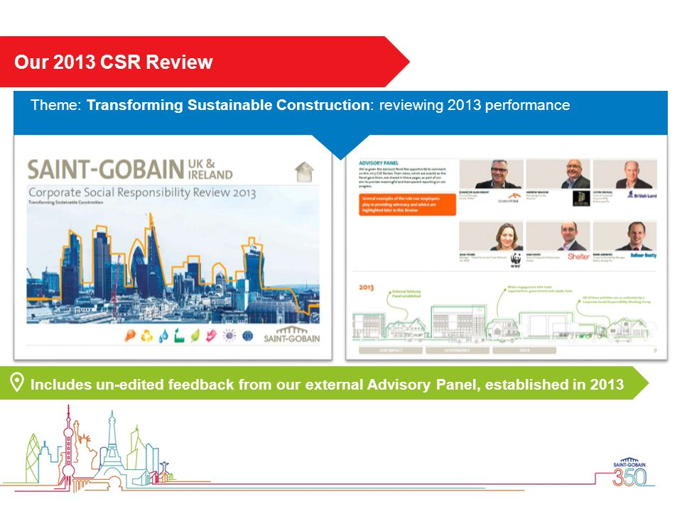 Our 2013 CSR Review Theme: Transforming Sustainable Construction: reviewing 2013 performance.