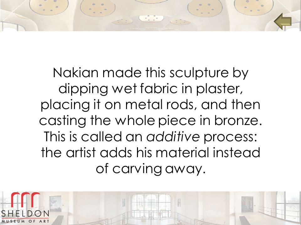 Nakian made this sculpture by dipping wet fabric in plaster, placing it on metal rods, and then casting the whole piece in bronze.