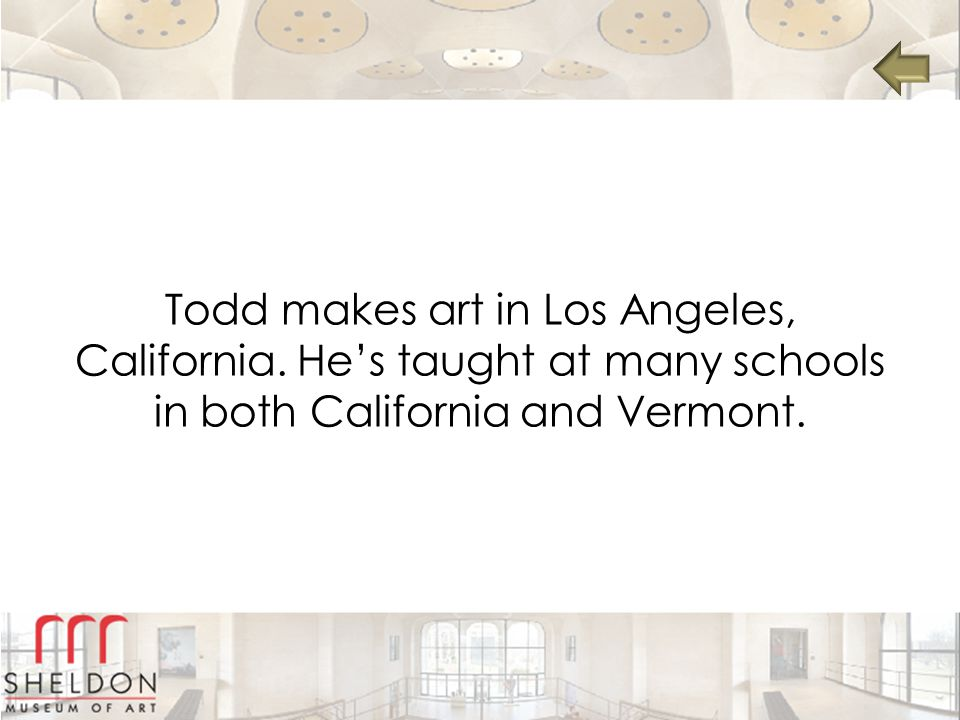 Todd makes art in Los Angeles, California