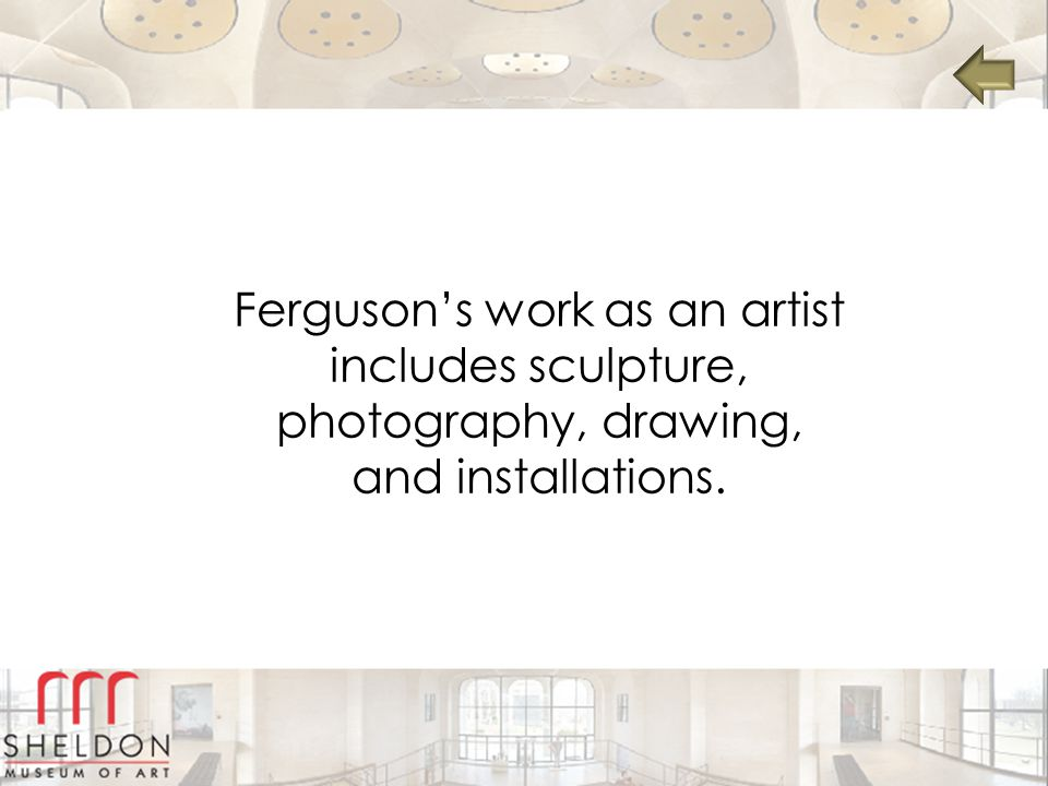 Ferguson's work as an artist includes sculpture, photography, drawing, and installations.