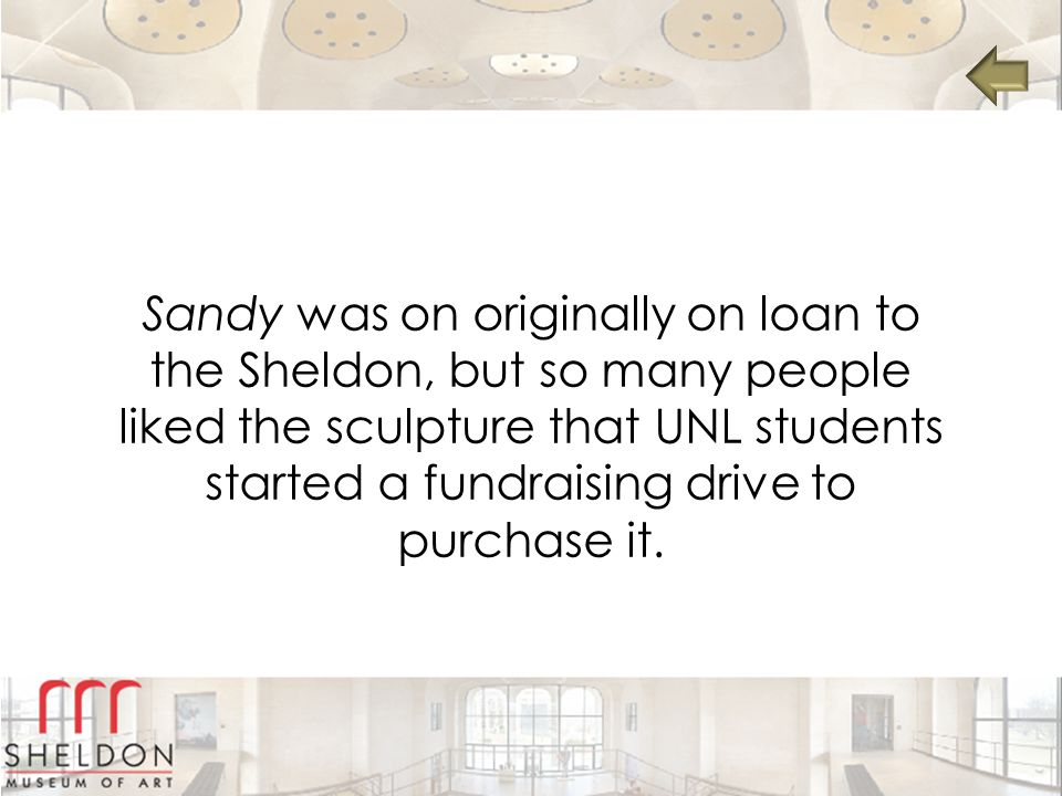 Sandy was on originally on loan to the Sheldon, but so many people liked the sculpture that UNL students started a fundraising drive to purchase it.