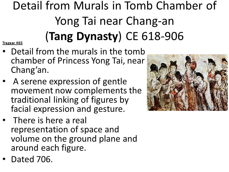 Detail from Murals in Tomb Chamber of Yong Tai near Chang-an (Tang Dynasty) CE 618-906