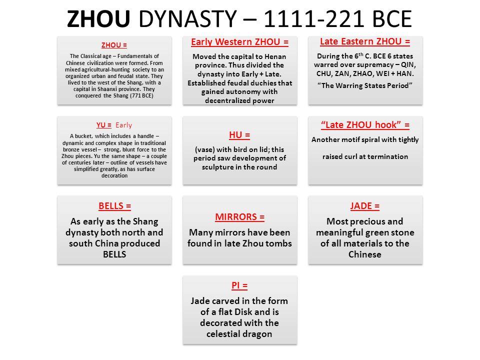 ZHOU DYNASTY – 1111-221 BCE Early Western ZHOU = Late Eastern ZHOU =