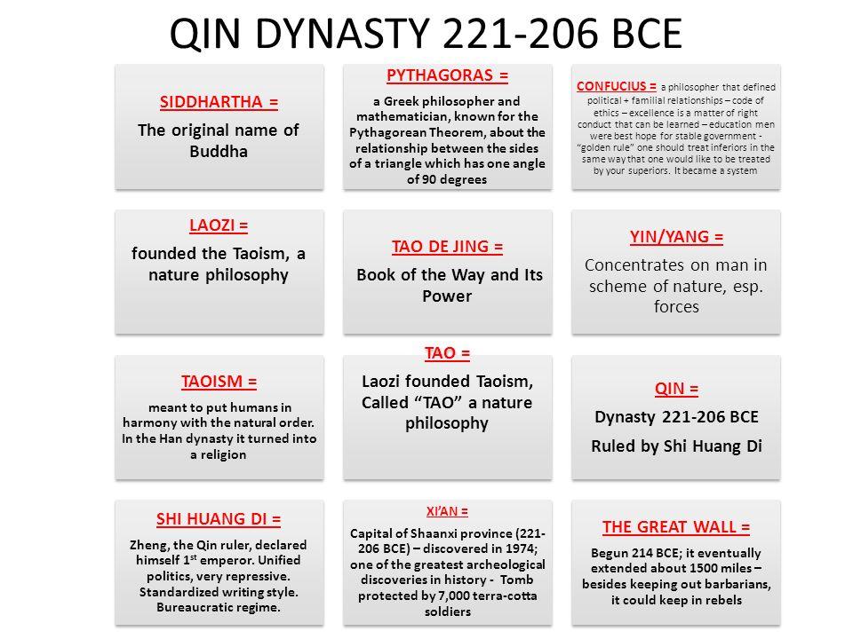 QIN DYNASTY 221-206 BCE SIDDHARTHA = The original name of Buddha