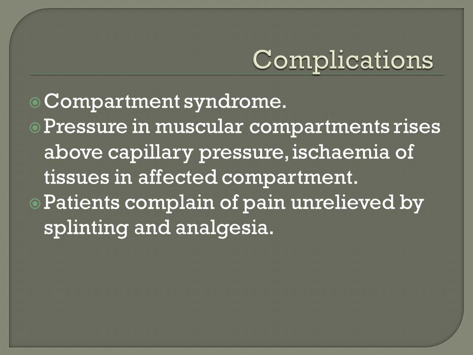 Complications Compartment syndrome.