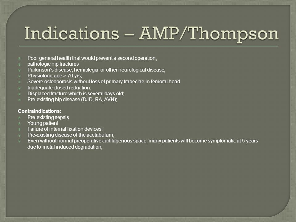 Indications – AMP/Thompson