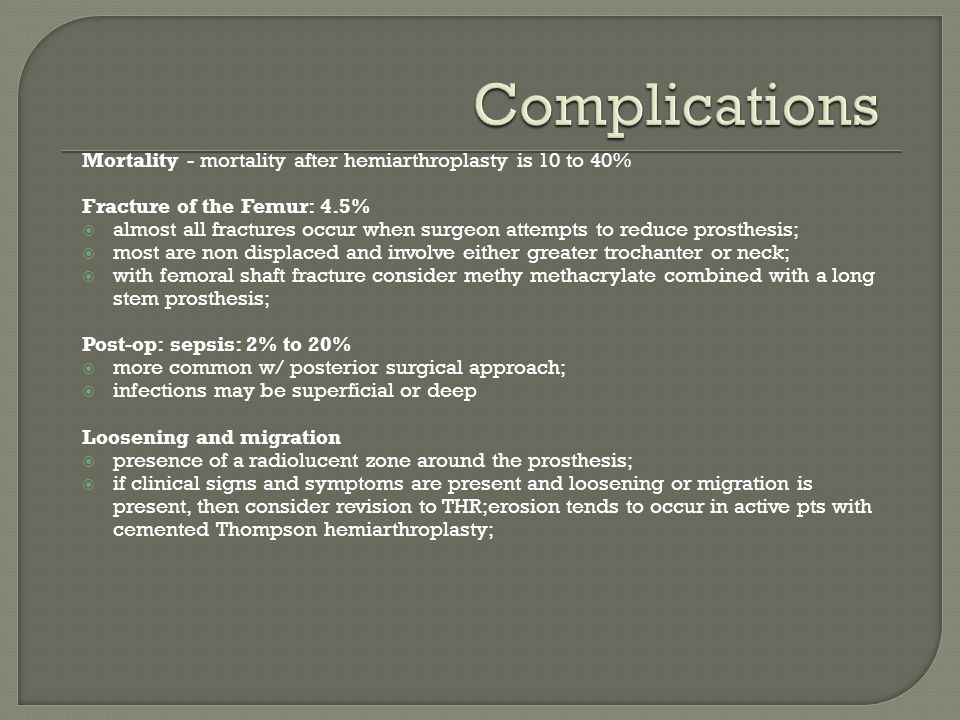 Complications Mortality - mortality after hemiarthroplasty is 10 to 40% Fracture of the Femur: 4.5%