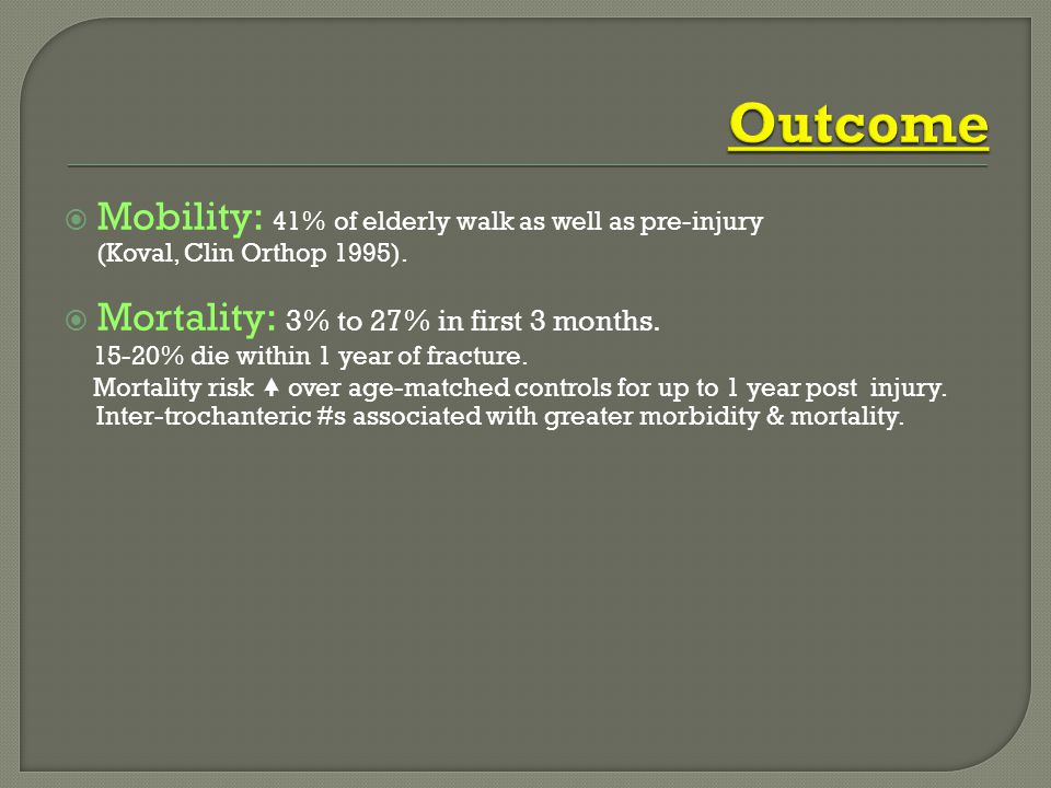 Outcome Mobility: 41% of elderly walk as well as pre-injury