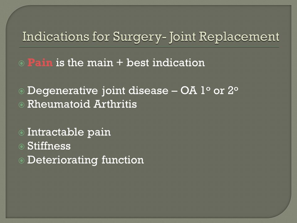 Indications for Surgery- Joint Replacement