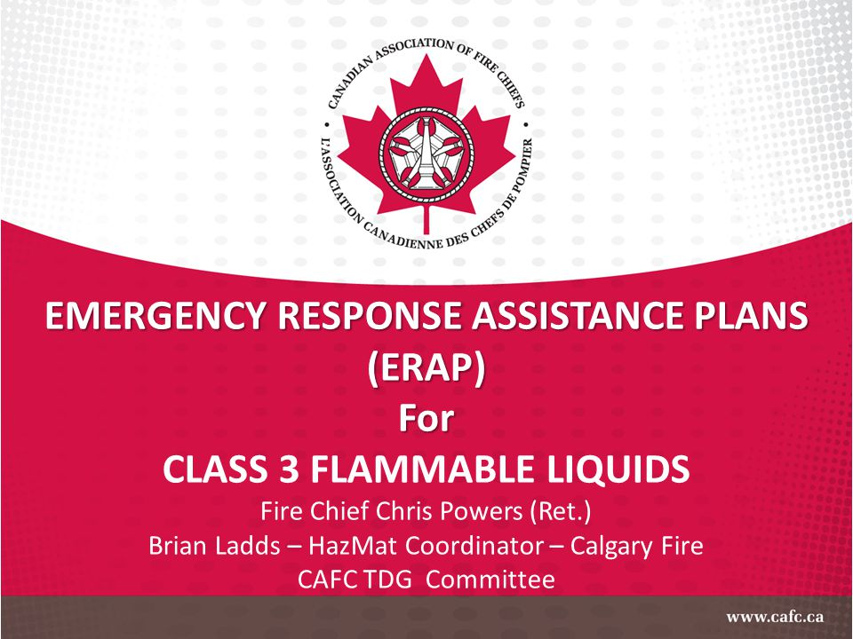 EMERGENCY RESPONSE ASSISTANCE PLANS CLASS 3 FLAMMABLE LIQUIDS