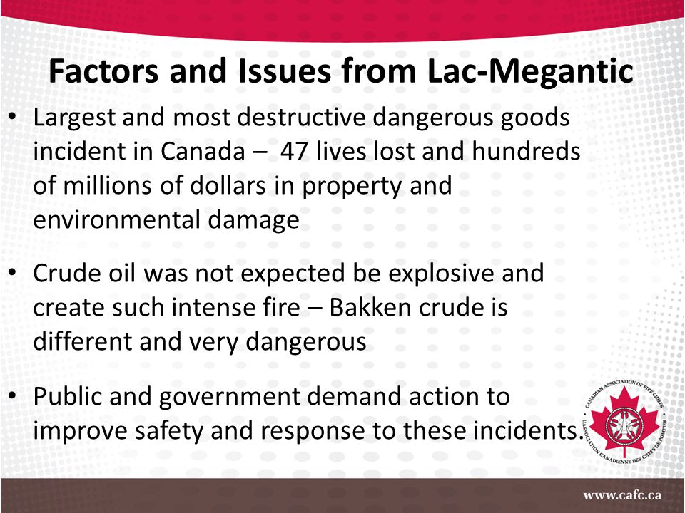 Factors and Issues from Lac-Megantic