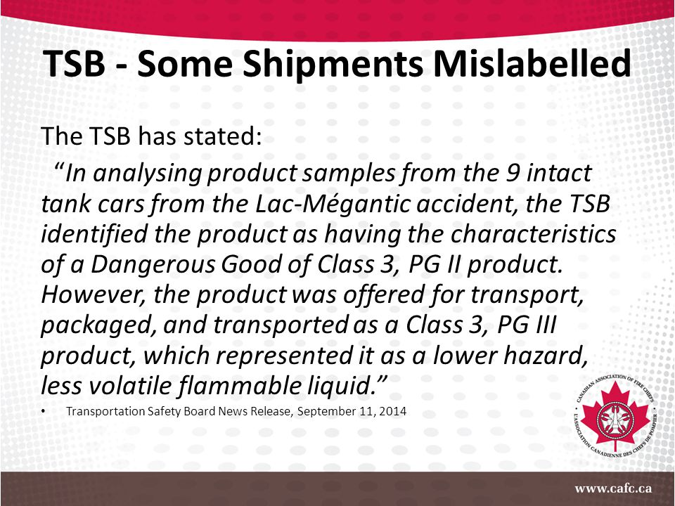 TSB - Some Shipments Mislabelled