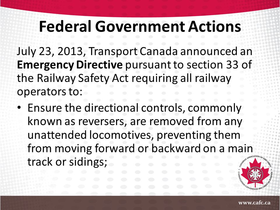 Federal Government Actions