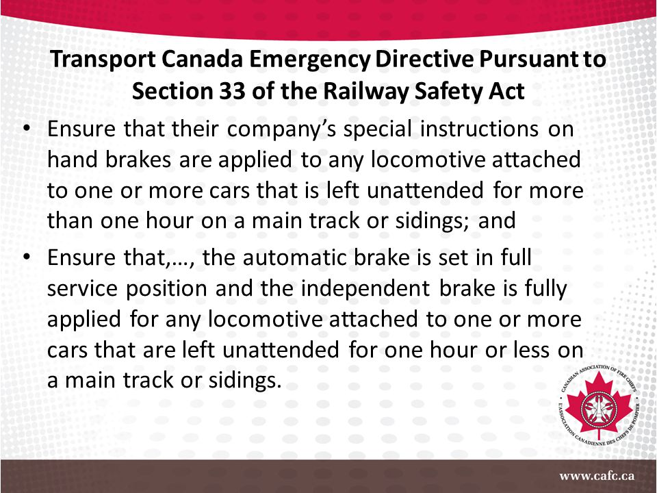 Transport Canada Emergency Directive Pursuant to Section 33 of the Railway Safety Act