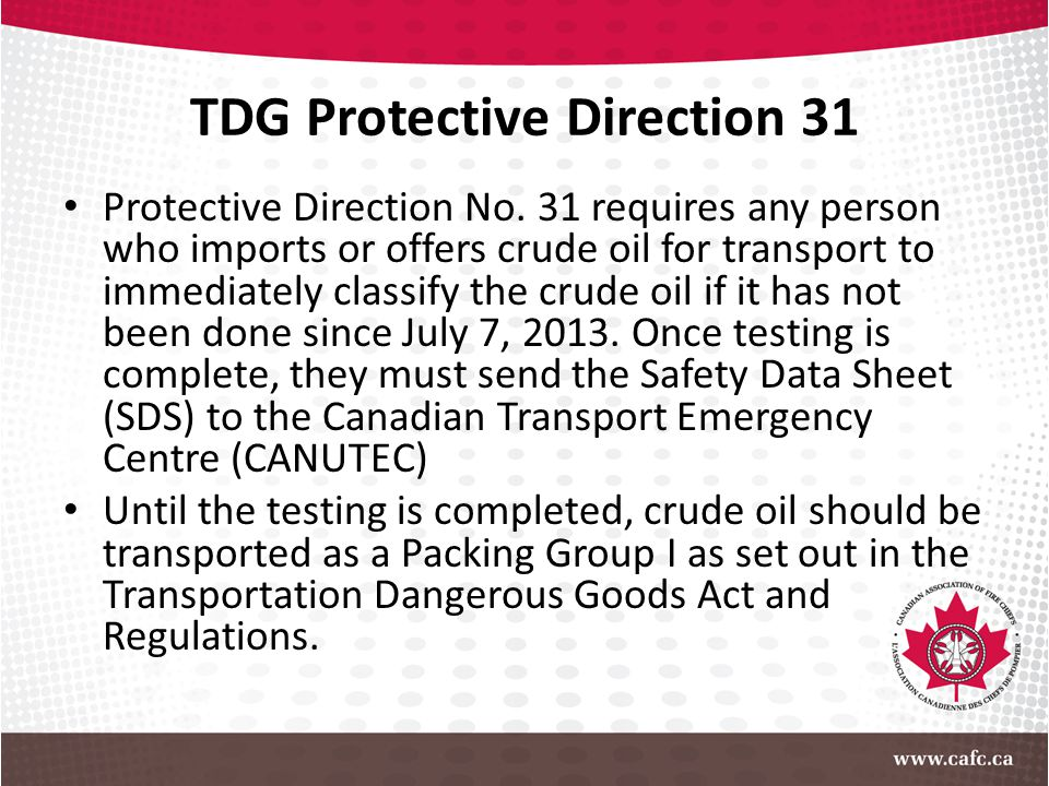 TDG Protective Direction 31