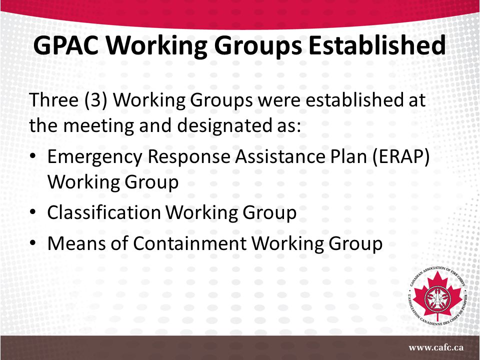 GPAC Working Groups Established