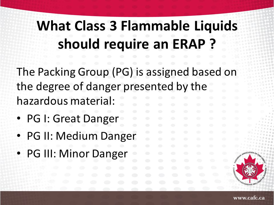 What Class 3 Flammable Liquids should require an ERAP