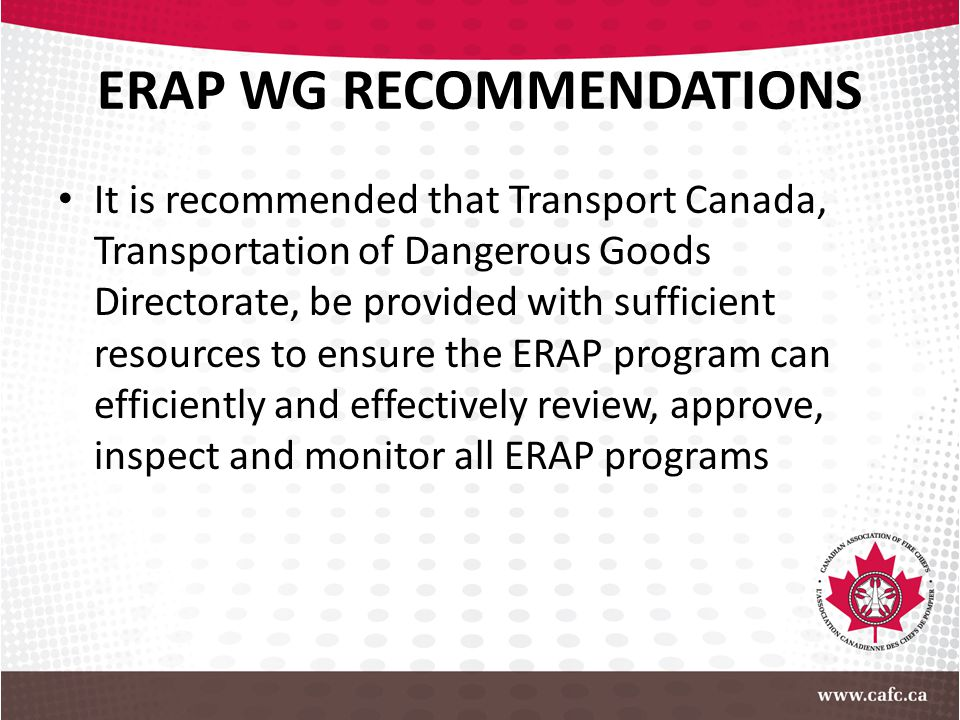 ERAP WG RECOMMENDATIONS