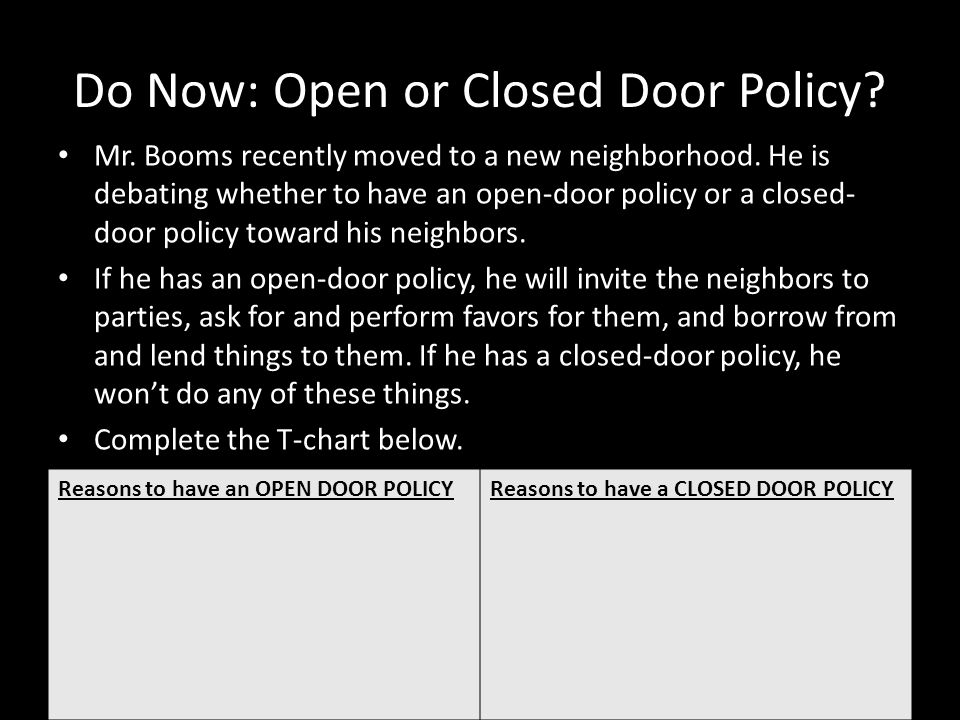 Do Now: Open or Closed Door Policy