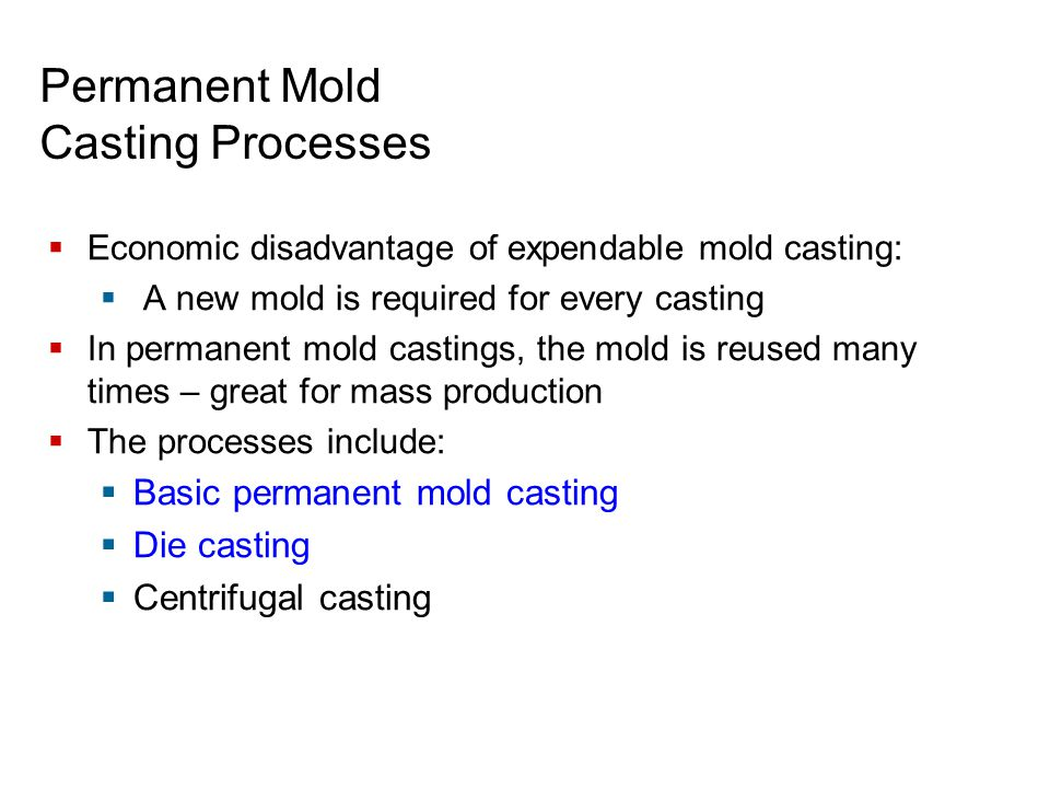 Permanent Mold Casting Processes