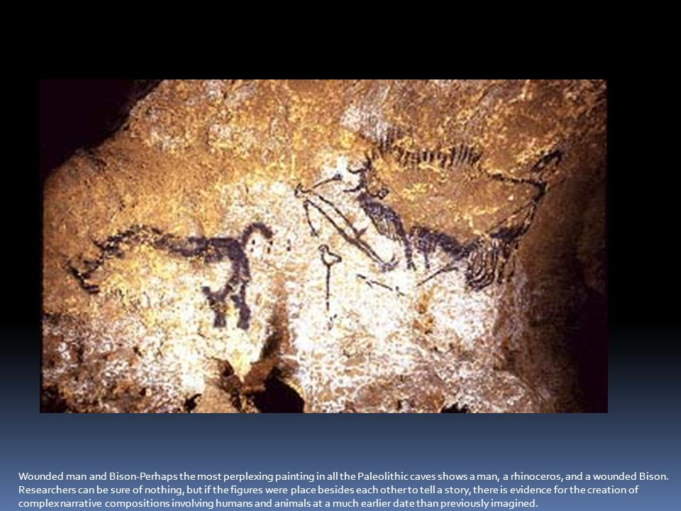 Wounded man and Bison-Perhaps the most perplexing painting in all the Paleolithic caves shows a man, a rhinoceros, and a wounded bison. Researchers can be sure of nothing, but if the figures were placed beside each other to tell a story, then this is evidence for the creation of complex narrative compositions involving humans and animals at a much earlier date than previously imagined.