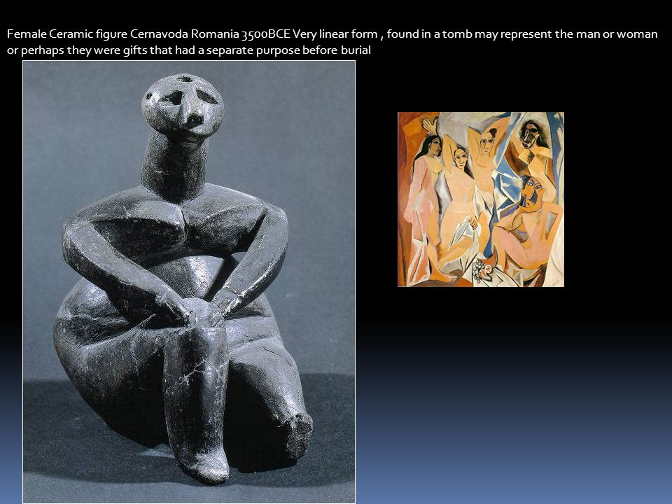 Female Ceramic figure Cernavoda Romania 3500BCE Very linear form , found in a tomb may represent the man or woman or perhaps they were gifts that had a separate purpose before burial