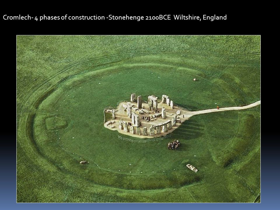 Cromlech- 4 phases of construction -Stonehenge 2100BCE Wiltshire, England