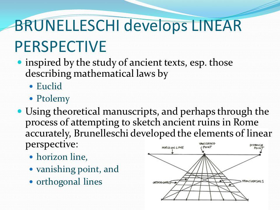 BRUNELLESCHI develops LINEAR PERSPECTIVE