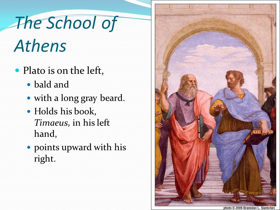 The School of Athens Plato is on the left, bald and