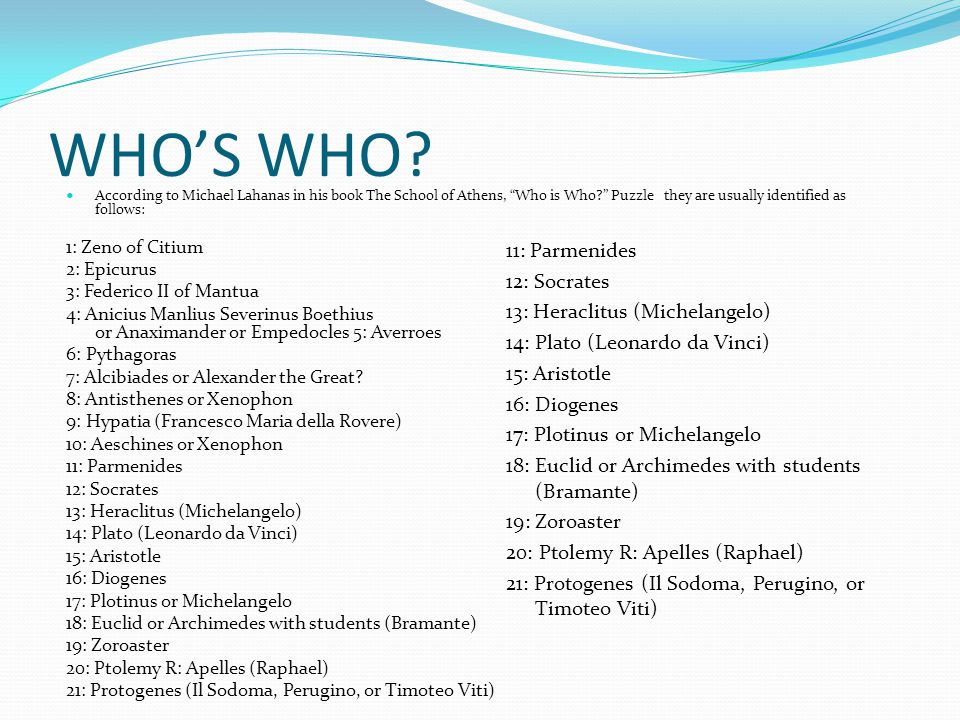 WHO'S WHO 11: Parmenides 12: Socrates 13: Heraclitus (Michelangelo)
