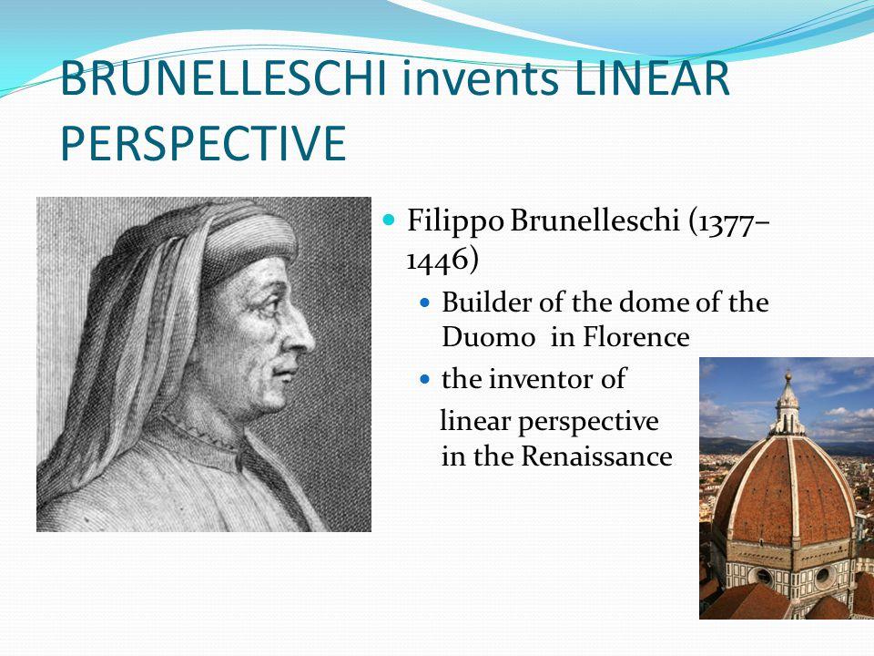 BRUNELLESCHI invents LINEAR PERSPECTIVE