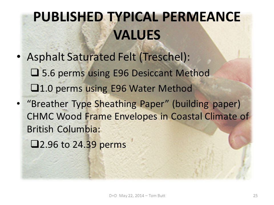 PUBLISHED TYPICAL PERMEANCE VALUES