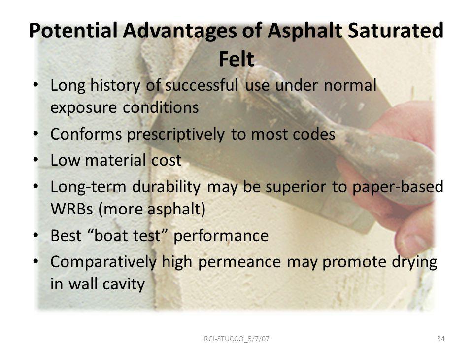 Potential Advantages of Asphalt Saturated Felt