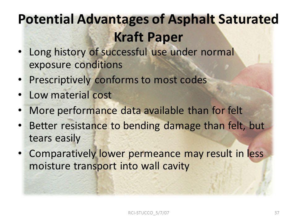 Potential Advantages of Asphalt Saturated Kraft Paper