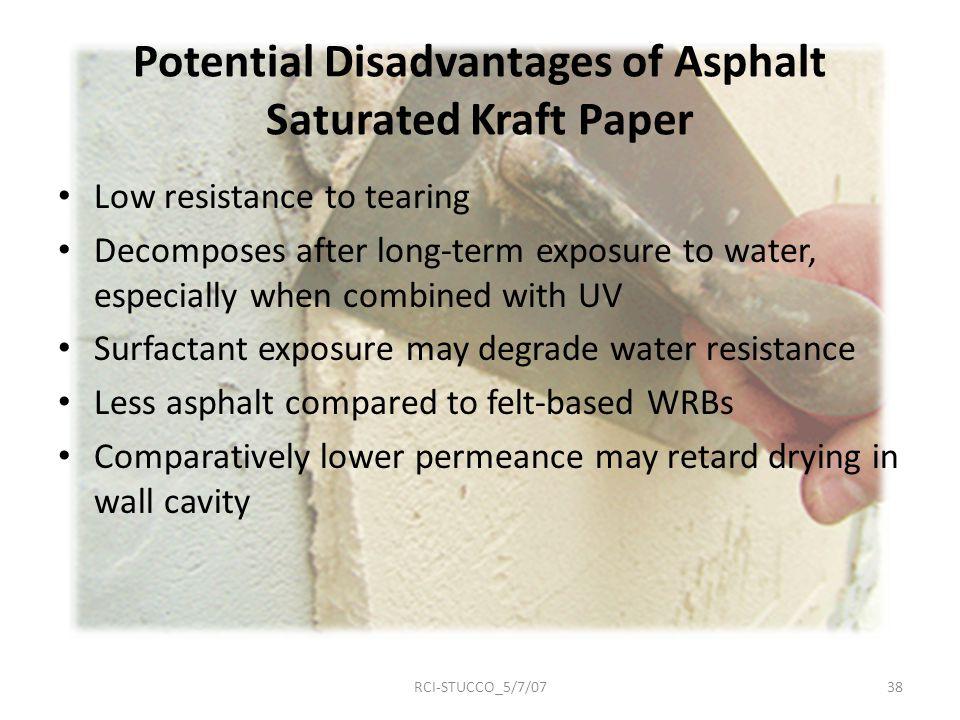 Potential Disadvantages of Asphalt Saturated Kraft Paper
