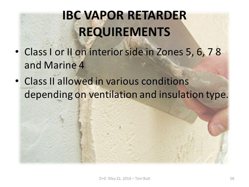 IBC VAPOR RETARDER REQUIREMENTS