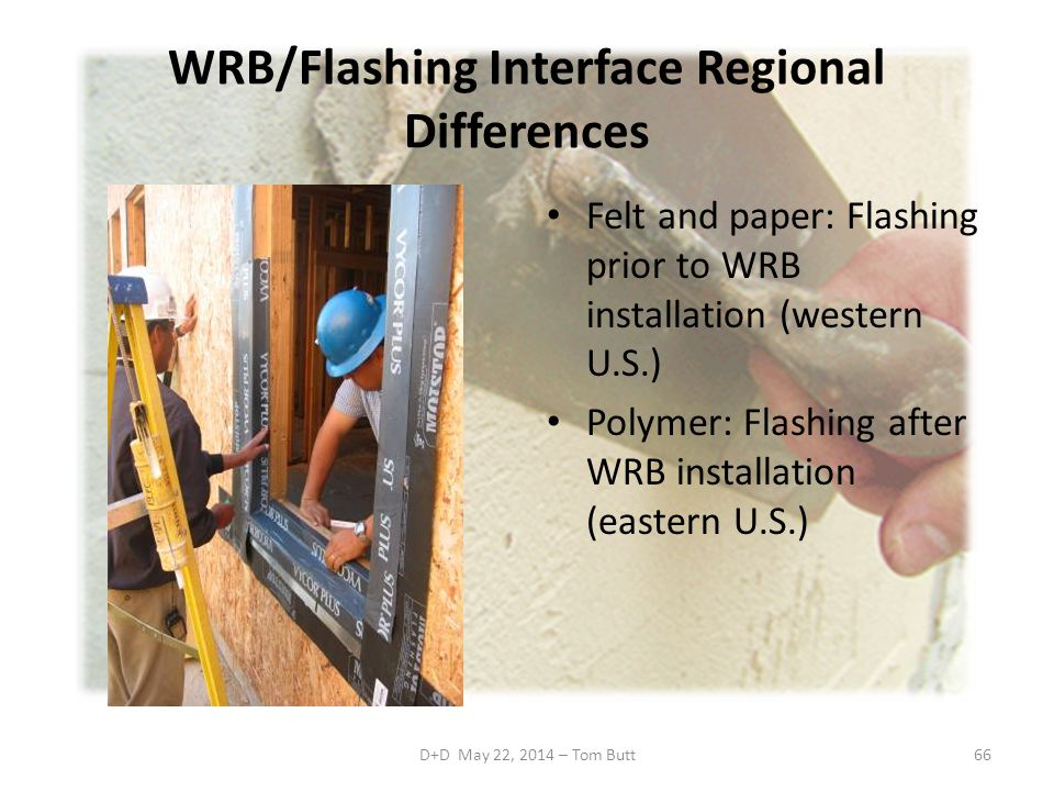WRB/Flashing Interface Regional Differences