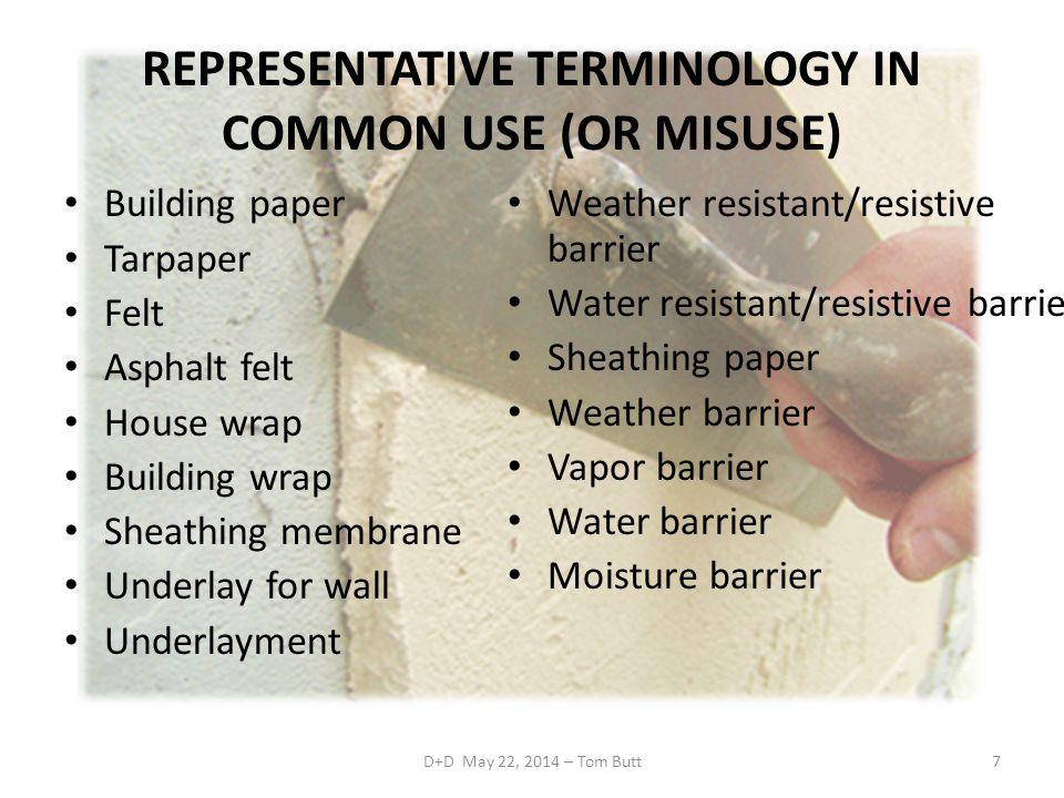 REPRESENTATIVE TERMINOLOGY IN COMMON USE (OR MISUSE)